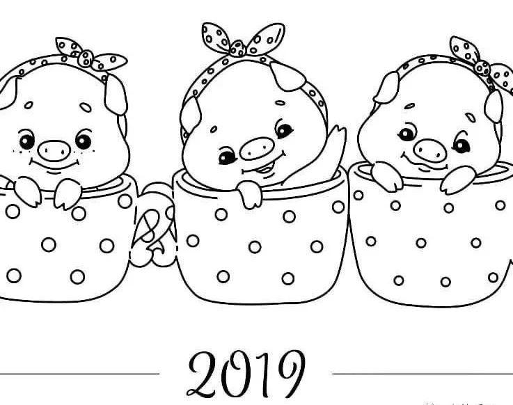 猪年日历绘画教程,和家人一起动手画出美好的2019